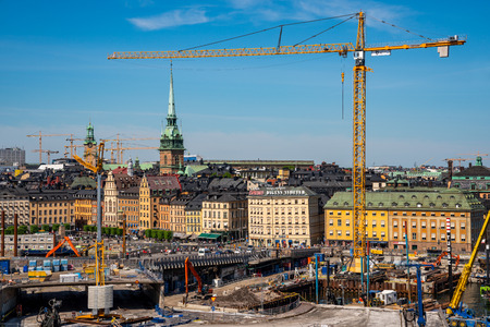 STOCKHOLM, SWEDEN - MAY 26, 2018: Cityscape view from above of large contruction site  at the Old Town and Slussen in Stockholm Sweden May 26, 2018. Editorial
