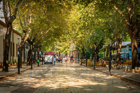 TIRANA, ALBANIA - AUGUST 10, 2018: Perspective view of people walking at a pedestrian city street with trees on the side in Tirana Albania August 10, 2018. People at a outdoor cafe on the side.