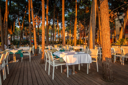 DURRES, ALBANIA - AUGUST 7, 2018: Front view of many set tables and pine trees at a outdoor restaurant in Durres Albania August 7, 2018. Incidental people in the background.