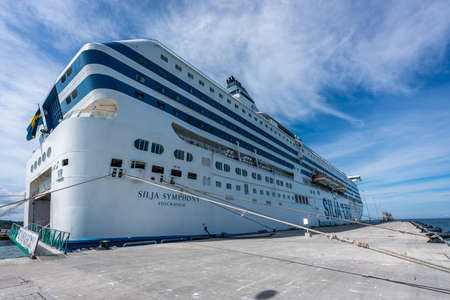 VISBY, SWEDEN - JULY 27, 2020: Perspective view of the stern side of the Tallink Silja Line cruise ship ferry moored in the port of Visby Gotland Sweden July 27, 2020.