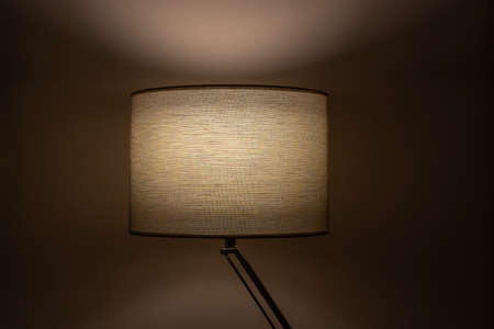 Close up of one indoor table lamp with cloth fabric. Home interior design with soft cozy glow.