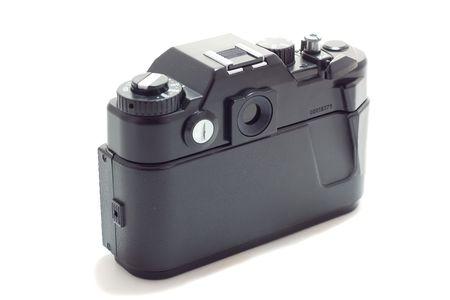 reflex: Vecchia macchina fotografica reflex, vista posteriore, isolato su bianco  Archivio Fotografico