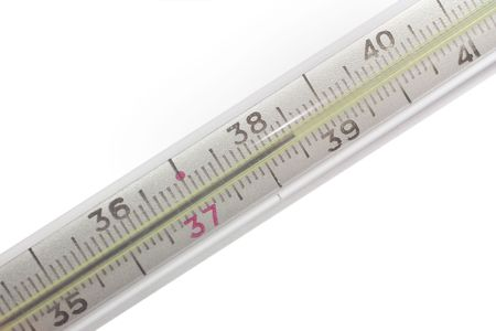 close-up thermometer show high temperature, isolated on whitre photo