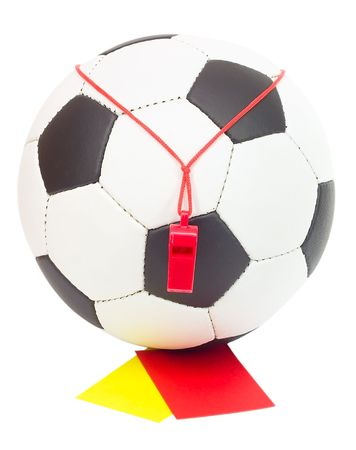 soccer concept, classic ball with referee's whistle, red and yellow card, isolated on white Stock Photo - 2907895