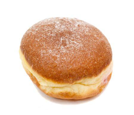 fresh doughnut with jem, isolated on white Stock Photo