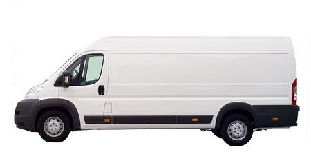 motor de carro: cami�n blanco van aislados, con el lugar en blanco para el texto