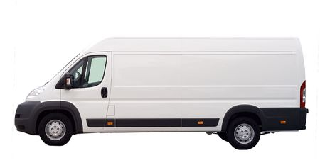 white lorry van isolated, with blank place for text photo