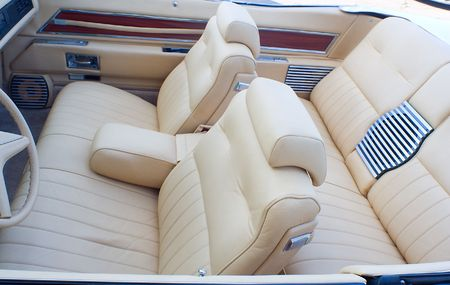 cabriolet: classic old cabriolet interior, with white lether passenger compartment