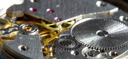 close-up part of clock mechanism, shalow dof photo