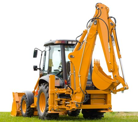 excavator: yellow backhoe on green grass, isolated over white background Stock Photo