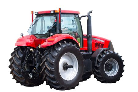 close-up new red tractor isolated on white photo