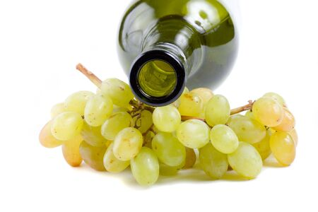 bottleneck: close-up bottleneck and green grapes, isolated on white Stock Photo
