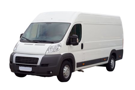 mode: new white lorry van isolated, with blank place for text