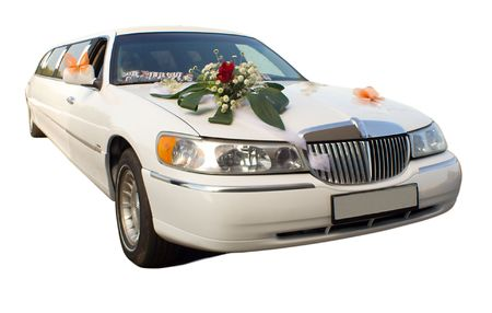 close-up wedding limousine with flowers, isolated on white