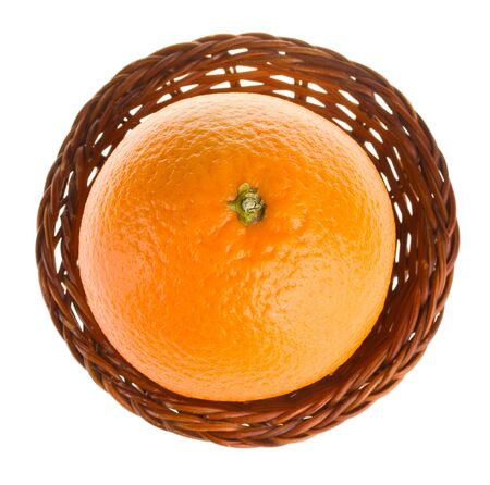 close-up orange in basket, view from above, isolated on white Stock Photo - 3953502