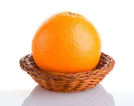 close-up orange in basket with reflection, isolated on white Stock Photo - 3953497