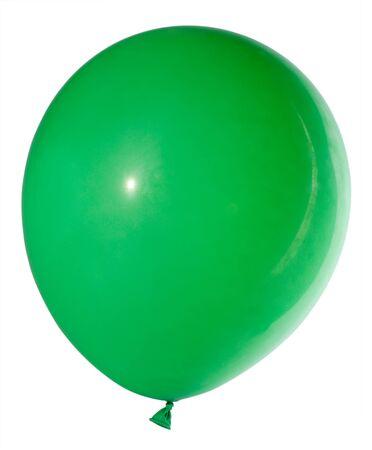 swollen: swollen green balloon, isolated on white