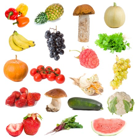 many fruits and vegetables collection, isolated on white photo