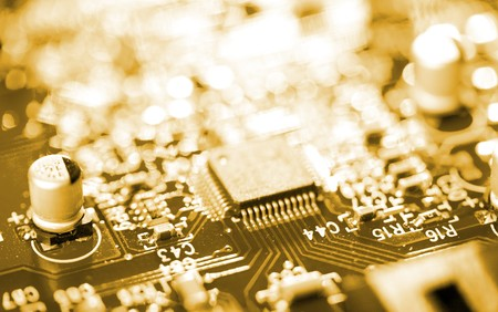 miniaturization: close-up chip on circuit board Stock Photo