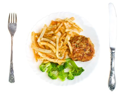 cutlet with broccoli and potatoes on plate, view from above, isolated photo