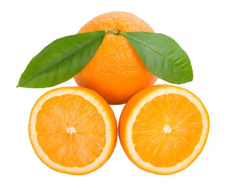 close-up oranges with leaves, isolated on white Stock Photo - 5936258