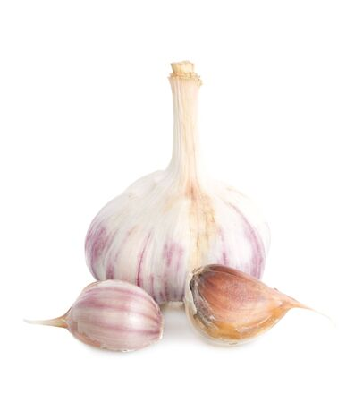 garlic full and peaces, isolated on white Stock Photo