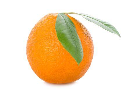 full orange with leaves, isolated on white Stock Photo - 5953529