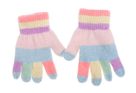 two colored kids gloves, isolated on white Stock Photo - 5953536