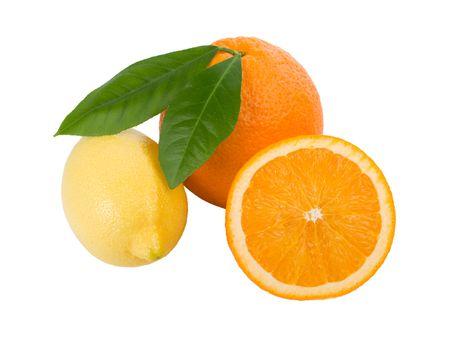 lemon and orange with leaves near, isolated on white Stock Photo - 6035255