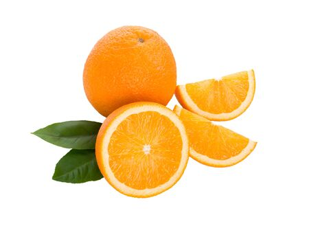 close-up ripe oranges with leaves, isolated on white Stock Photo - 6483581