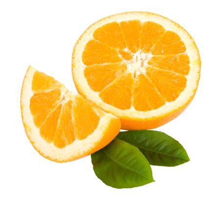 close-up cut orange fruit with leaves, isolated on white Stock Photo - 6761683