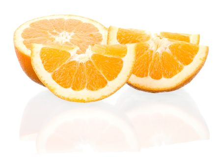 close-up cut oranges with reflection, isolated on white Stock Photo - 6842705