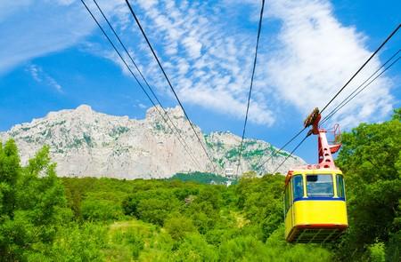 ropeway: rope-way with tram on mountain Ai-Petri, Crimea Stock Photo