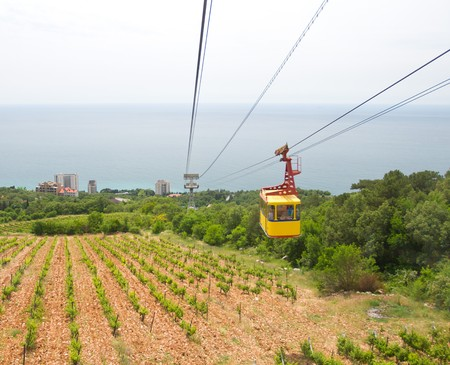 ropeway: rope-way with tram from mountain to sea