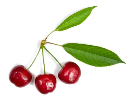 close-up three ripe cherries with leaves, isolated on white photo