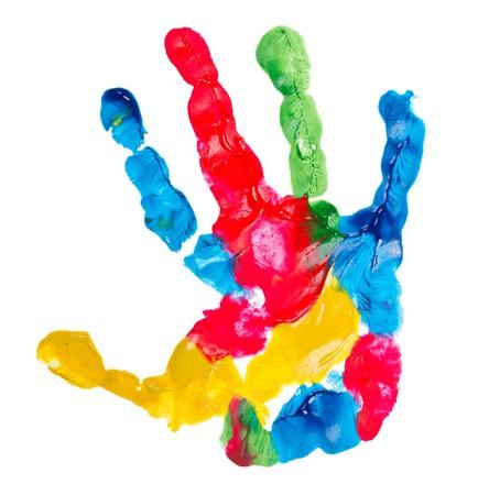 kleur kind hand afdruk, geïsoleerde op wit  Stockfoto