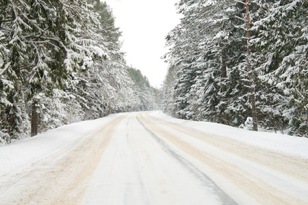 country road in snow photo