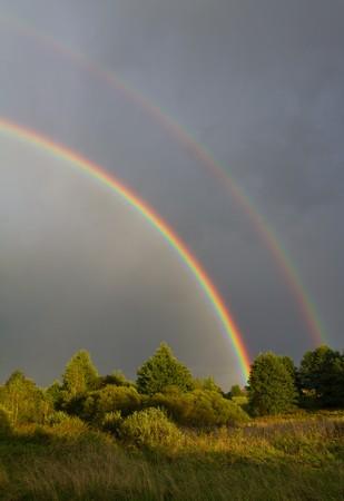 beautiful rainbow in sky after summer rain photo