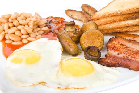 close-up traditional english breakfast, isolated on white photo