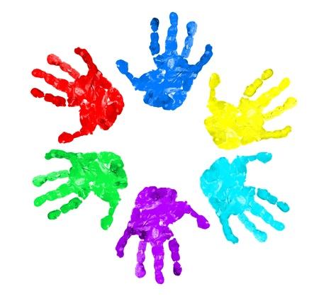 empreinte de main: ensemble de gravures de main de diff�rentes couleurs, isol�s sur fond blanc Banque d'images