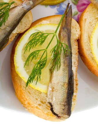 close-up sandwich with sprats, isolated on white photo