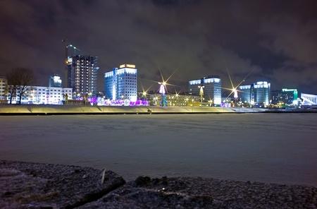 minsk: Pobediteley avenue at night Minsk, Belarus