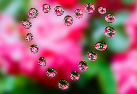 water drops with reflection as heart photo