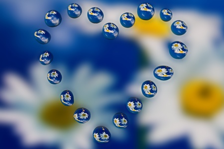 water drops with reflection photo