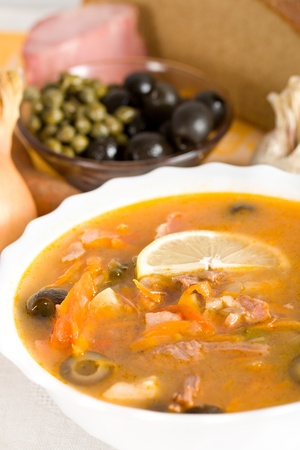 solyanka: soup from meat and vegetables, solyanka