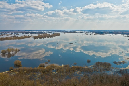 dnepr: river Dnepr in spring time, view from above