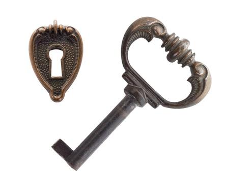 close-up old key and keyhole, isolated on white Stock Photo - 9109938