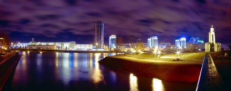 panorama of Minsk city at night photo