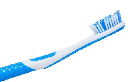 tooth brush: close-up blue tooth brush, isolated on white