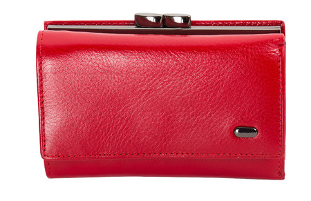close-up red womens wallet, isolated on white Stock Photo
